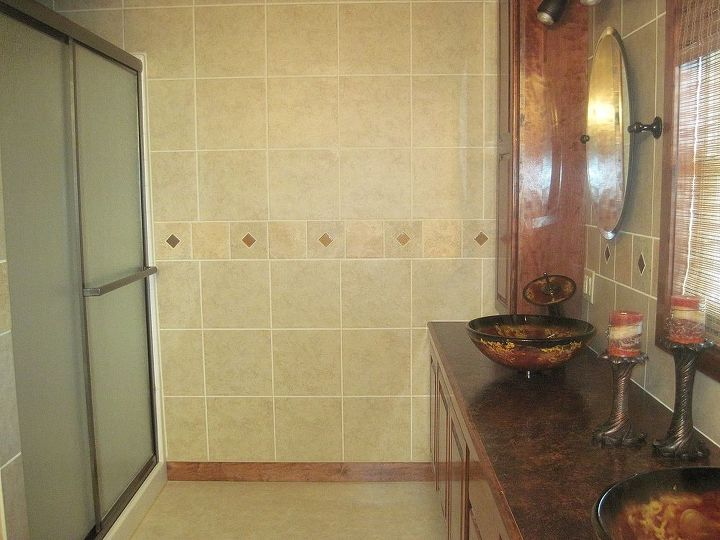This was his first tile work.  An outstanding job.  We got a fantastic price on the tiles by using a discontinued item.