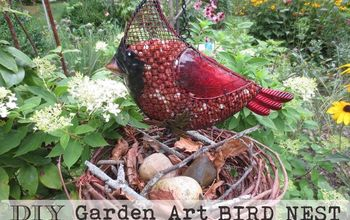 take a wreath make a decorative bird nest, crafts, outdoor living, repurposing upcycling, Grape vine bird nests are a fun additon to the garden