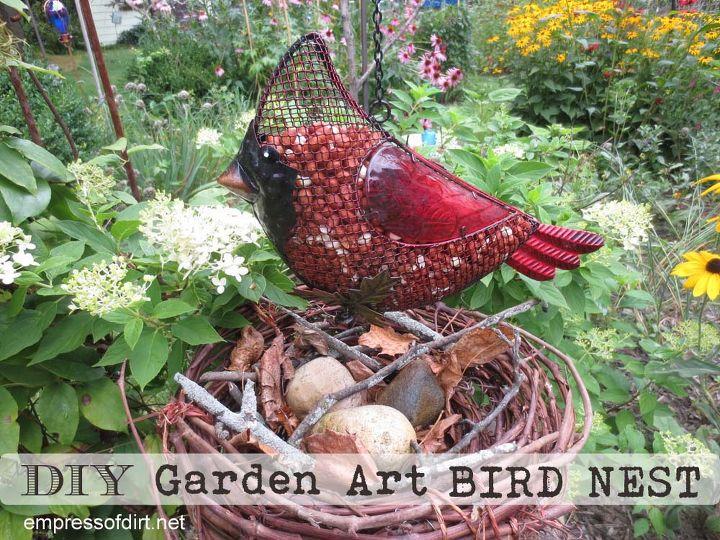 Grape vine bird nests are a fun additon to the garden. http://www.empressofdirt.net/gardenartbirdnest/