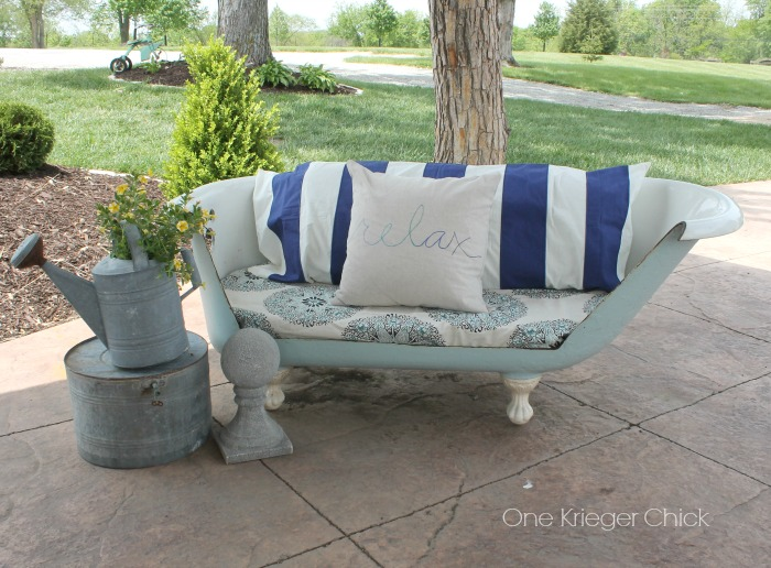 cast iron bathtub turned outdoor sofa, diy, outdoor furniture, painted furniture, repurposing upcycling, reupholster