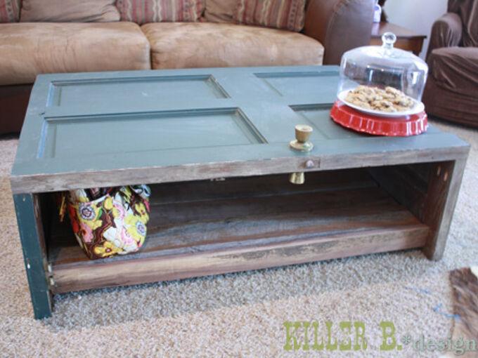 reclaimed door coffee table, doors, painted furniture, repurposing upcycling, woodworking projects, Salvaged Door Coffee Table