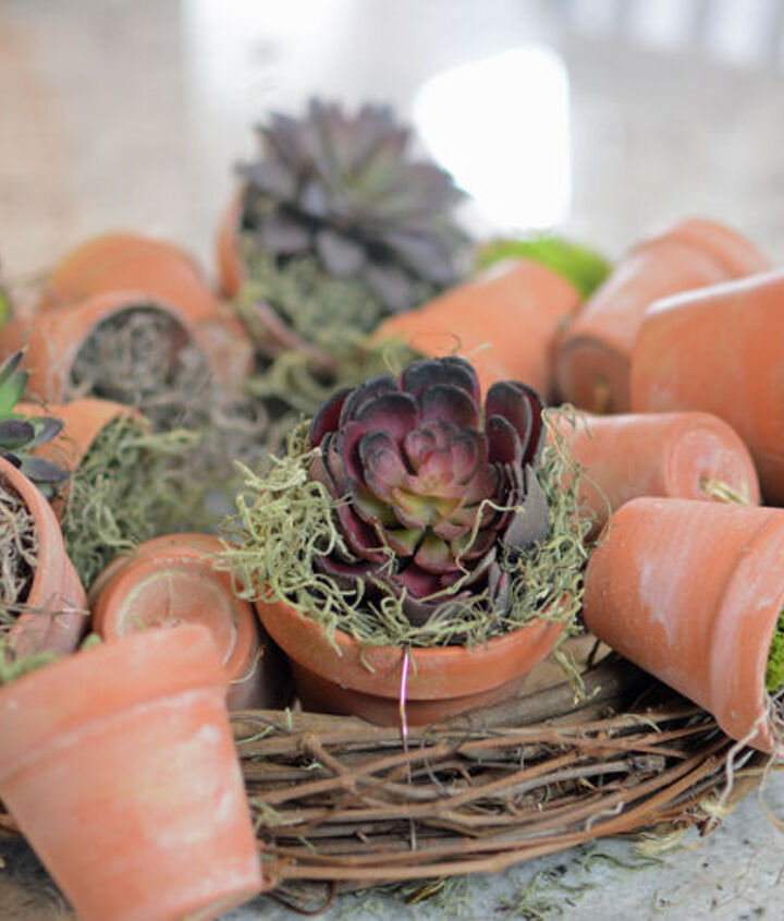 Tuck in some succulents...use live ones if your wreath is near natural light!