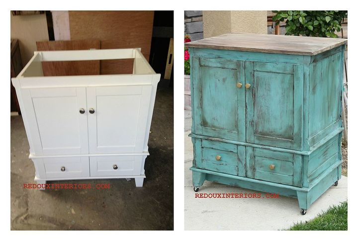 I used a free to me never used Bathroom Vanity and transformed it into a rolling kitchen island.  Added a new top with old wood, a piece of MDF to the back and wheels.  Easy two step CeCe Caldwell's paint treatment, and no primer!