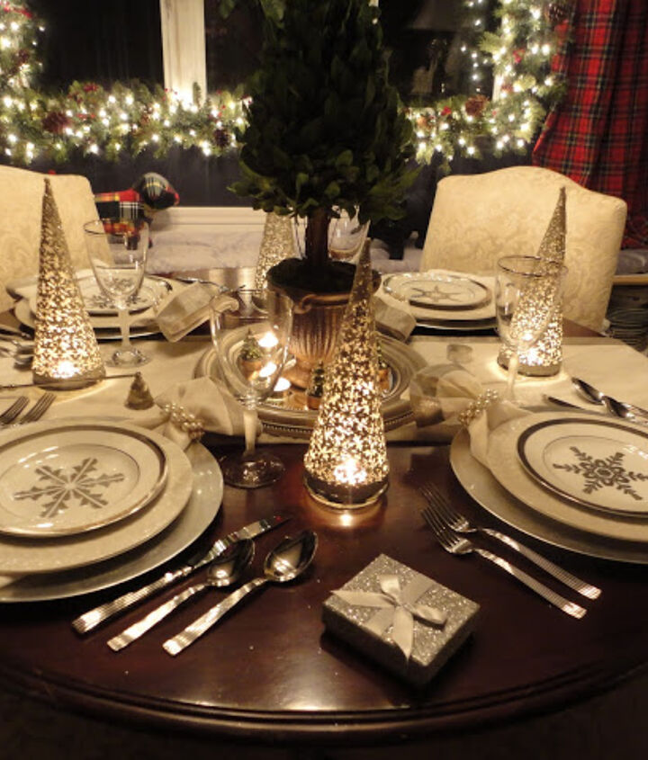 Silver snowflake dishes from Ralph Lauren.