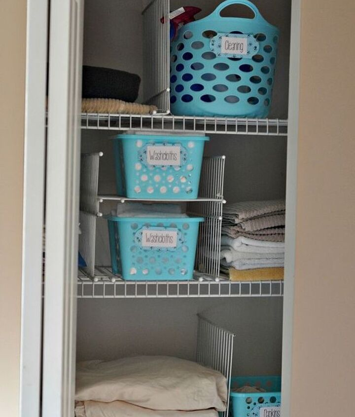 this hack will keep your linen closet organized for good, closet, shelving ideas, If you re feeling cheeky you can use your zap straps and dividers to create quick and easy mini shelves within your bigger shelves This is perfect for baskets or smaller items