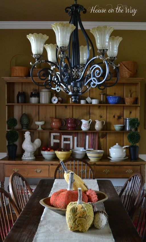 My dining room Harvest table and Welsh cabinet are the perfect backdrop for Fall decor.