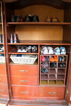 turn an old television armoire into a shoe cabinet, kitchen cabinets, painted furniture, This shows the finished product