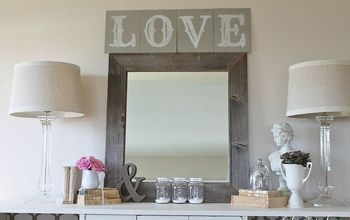 Monogram French Linen Chalkpaint LOVE sign & Valentine Vignette