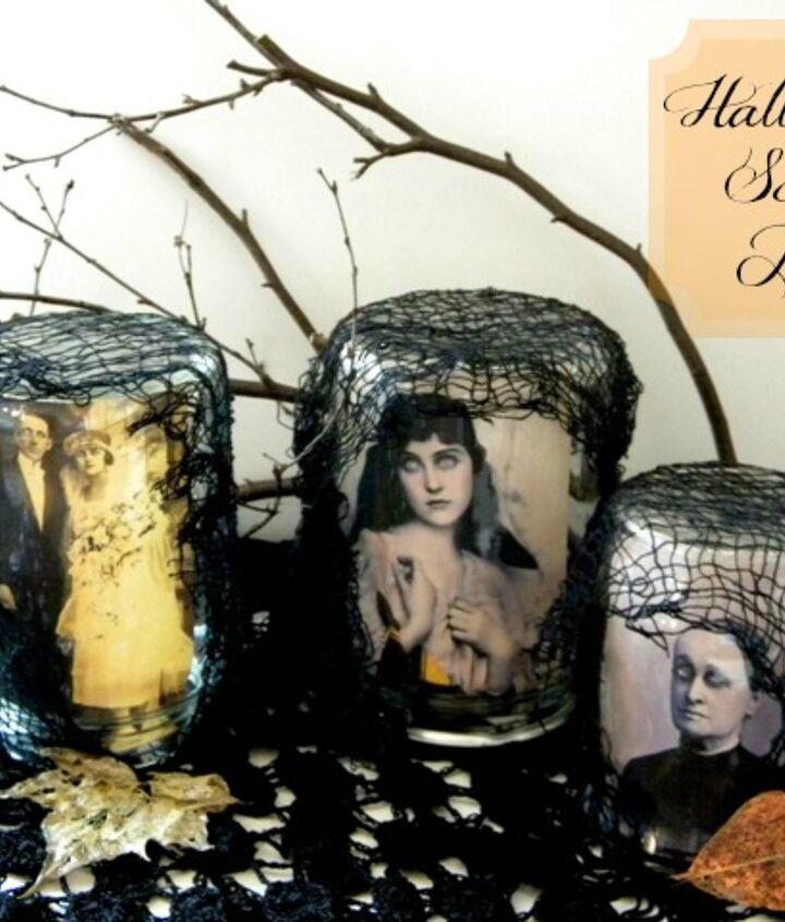 Use vintage portraits inside of jars for a creepy effect.