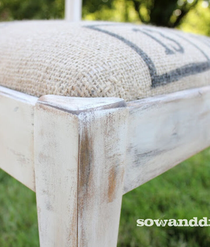 what do burlap coffee sacks and old sewing chairs have in common, home decor, painted furniture