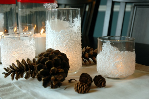 diy snow drift candle holders, crafts, decoupage, seasonal holiday decor, DIY Snow Drift Candle Holders directions below
