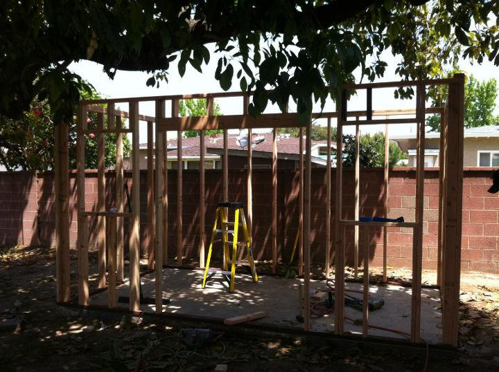 backyard shed build, diy, garages, home improvement, outdoor living