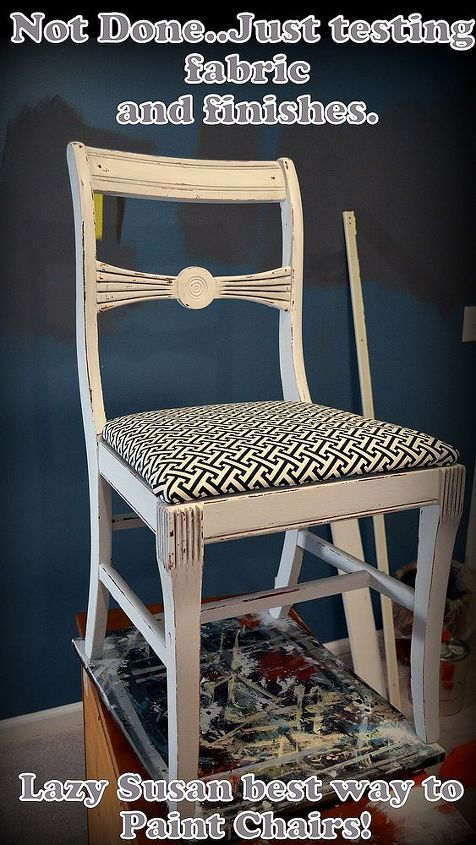 Chairs are a pain to paint..make a lazy susan for easy painting.