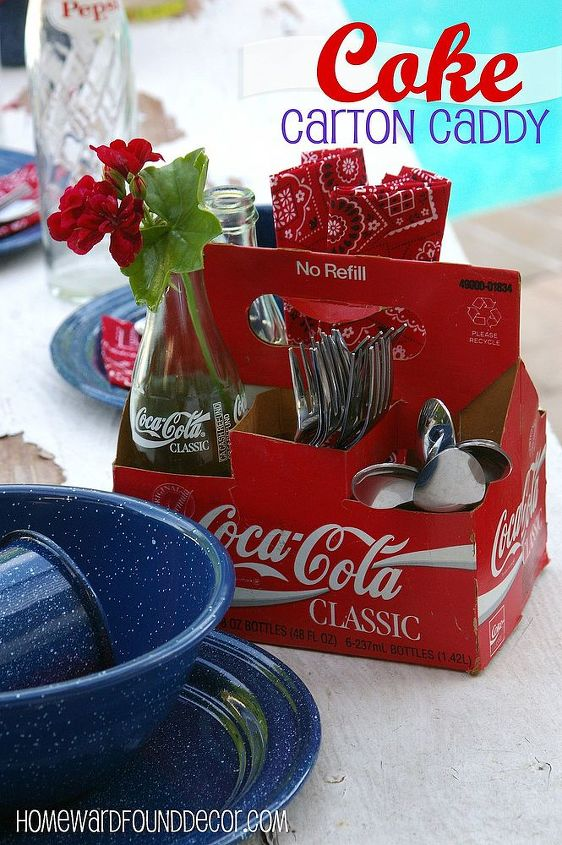a cardboard soda bottle carrier becomes a tabletop caddy for flatware & napkins, condiments, or more flowers! http://homewardfounddecor.blogspot.com/2013/06/its-all-bottled-up.html
