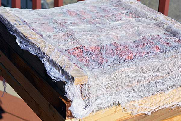 Place on drying frames spacing evenly so tomatoes do not touch Place frames with sliced tomatoes outside in direct sunlight Cover lightly with cheese cloth to protect from insects