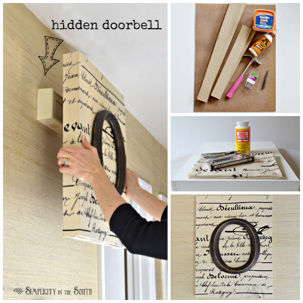 diy monogrammed art that cleverly hides the doorbell, crafts, home decor, wall decor