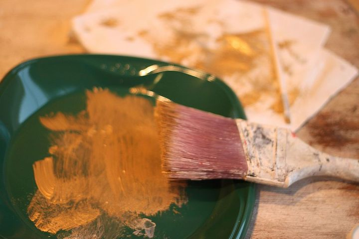 """I did gold and silver metallics.  Base coated in one or the other colors.  Then """"Dry Brushed"""" another metallic over. See how little paint is on my brush?"""