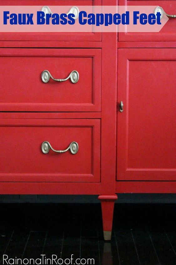 faux brass capped feet, painted furniture, All it takes is 15 minutes to create faux brass capped feet of your own
