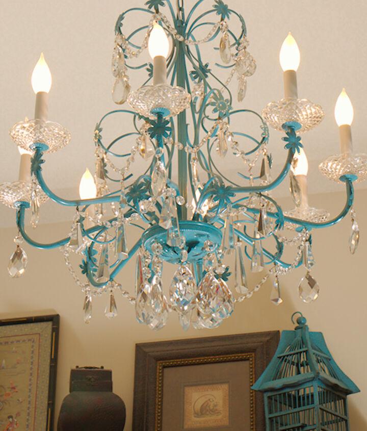 blue chandelier redo, home decor, lighting