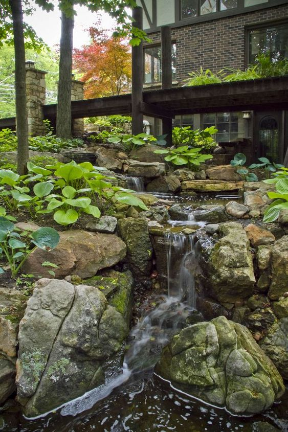 wandering waterfall in the burbs, landscape, outdoor living, ponds water features