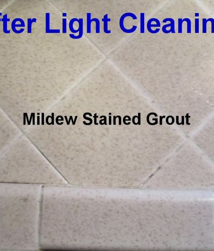 After Light Cleaning: Mildew stains on the tile grout - adjacent to the sink.