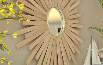 diy sunburst mirror, crafts, DIY sunburst mirror over my summer mantel