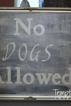 creative diy dog gate using an open backed picture frame, crafts, repurposing upcycling, woodworking projects, This was created with an open backed frame plywood stenciled letters paint and hardware to attach it to the wall