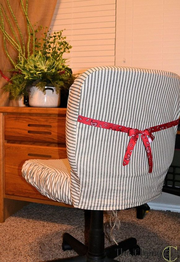 cute up an office chair with a slipcover, craft rooms, home decor, home office, painted furniture, reupholster