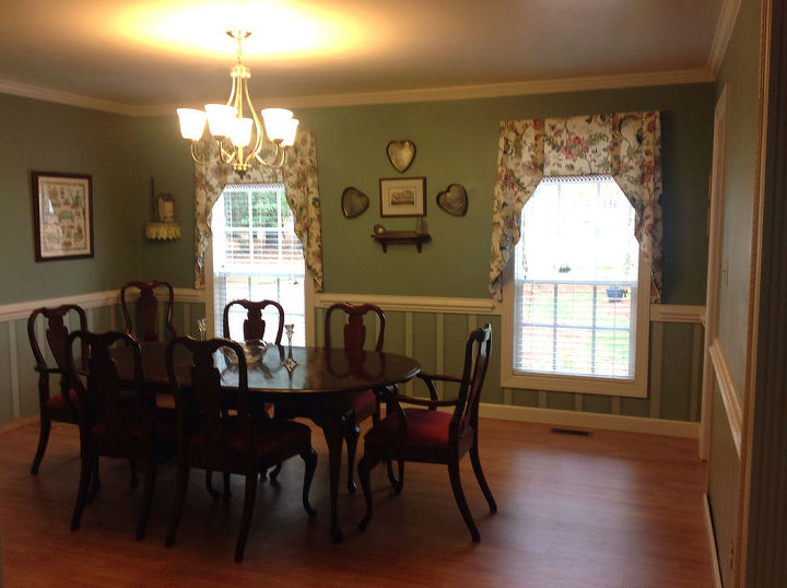 full dining room with the window treatments complete.