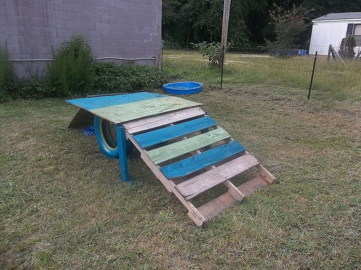 ramp- I designed it. Our neighbor let us have his old tires:)