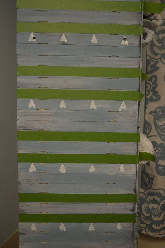 paint stirrer shelf makeover, diy, painted furniture, shelving ideas, storage ideas, Taped off stripes and filled in pattern by hand