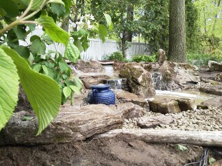 pondless waterfall creation, outdoor living, ponds water features, Pondless with Bubbling Urn