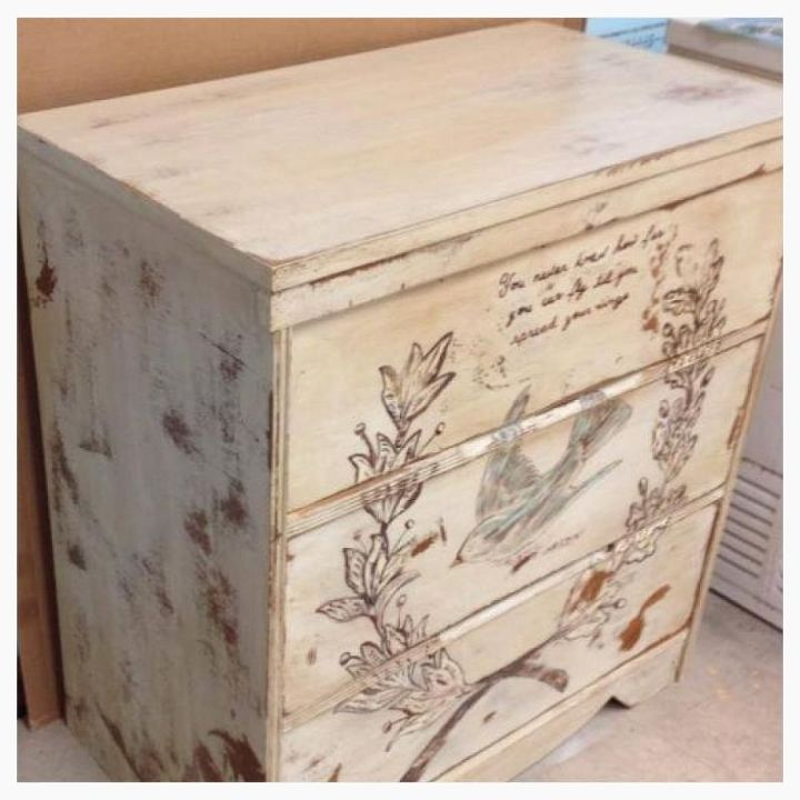 shabby bird dresser, painted furniture