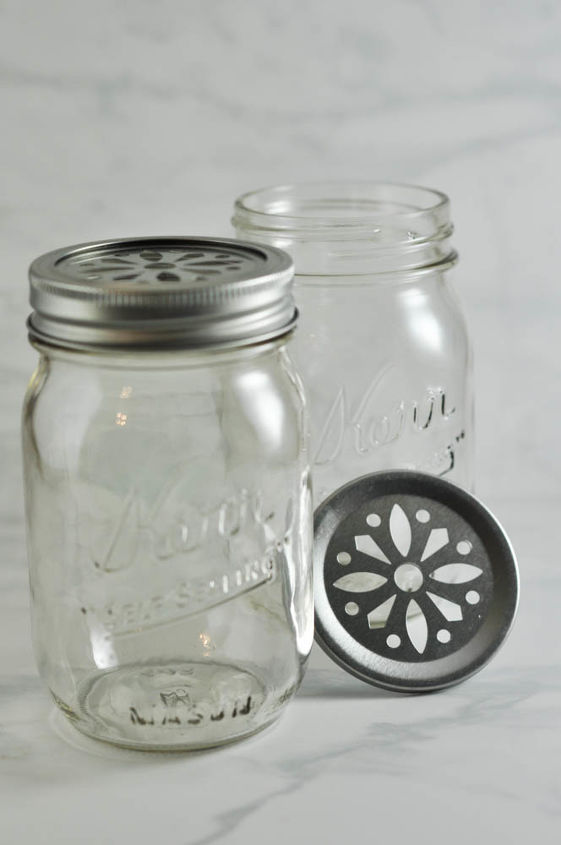 These cut-out lids (found at Michaels) fit on pint-sized mason jars.