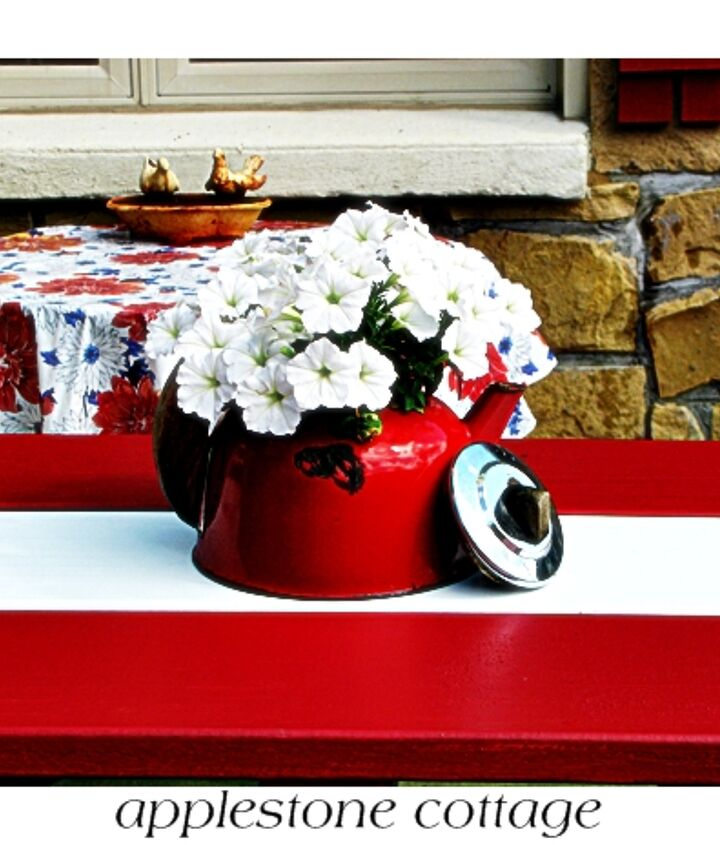 Old tea-pot filled with petunias makes for a fun centerpiece!
