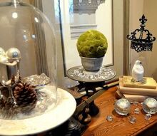 icy winter vignette, crafts, seasonal holiday decor, A green moss ball adds just the right amount of contrast to this predominantly neutral winter vignette