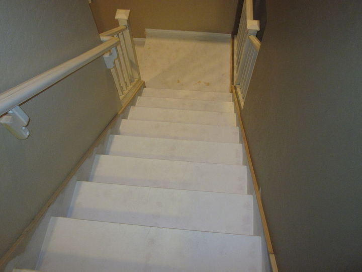 Add decorative moulding to simulate a stair trim