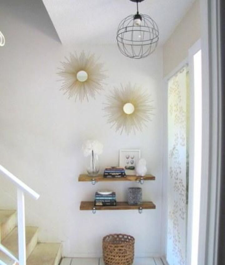 6. Small Home Love did a superb job making these sunburst mirrors from scratch! They look professionally made. Check out her tutorial! I am super impressed. Not to mention this adorable little vignette they set up did with the floating