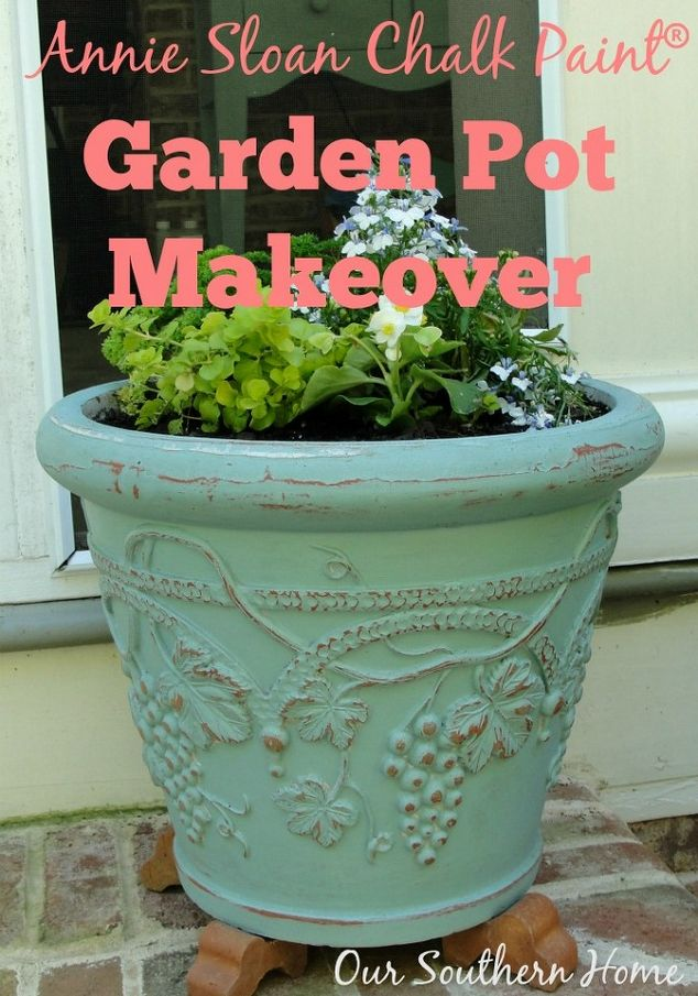 giving garden pots new life with annie sloan chalk paint, chalk paint,  crafts,