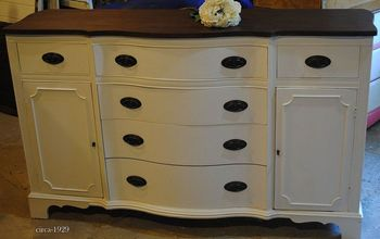 finally a buffet for me, painted furniture, The after new top with routed edge and new feet Glorious