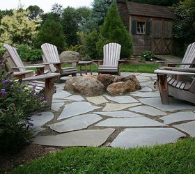 Natural Flagstone Patio Amp Fire Pit, Outdoor Living, Patio, Flagstone Patio  With Fire