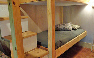 diy double bunk bed design, bedroom ideas, painted furniture, rustic furniture, stairs