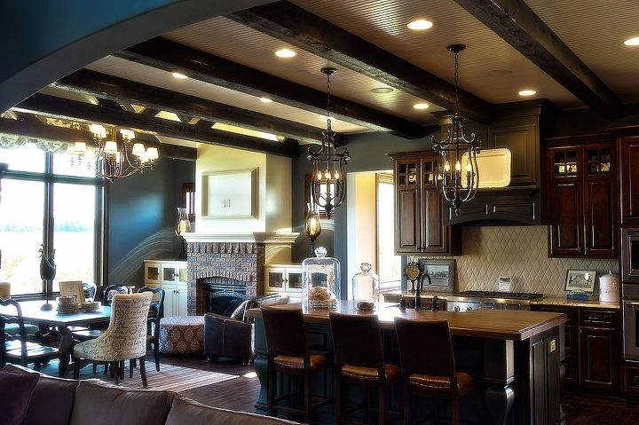 warm kitchen with a cool ceiling detail, home decor, kitchen design, kitchen island, View from the Living Room