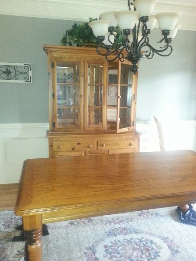 oak dining room set makeover, chalk paint, painted furniture