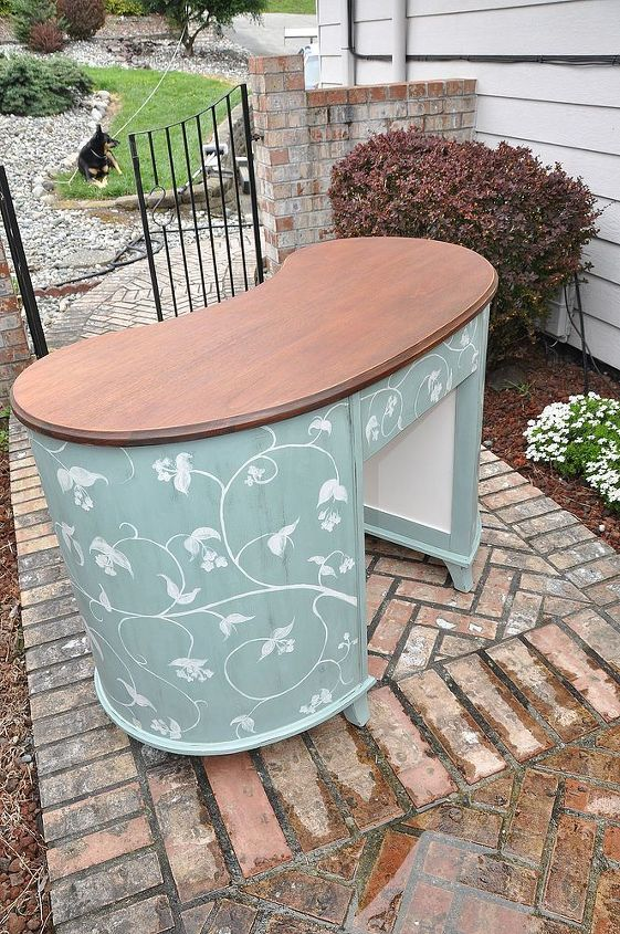 painted mahogany kidney shaped desk, painted furniture