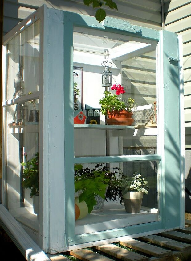 Mini Greenhouse From Old Storm Windows Hometalk - Build small greenhouse with old windows