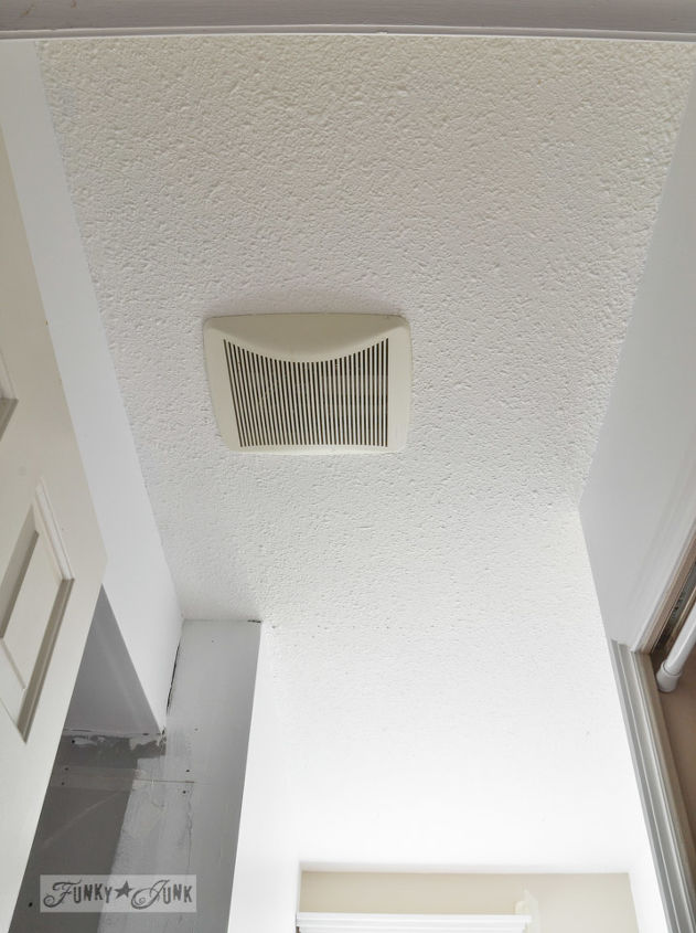 How to plank over a popcorn ceiling instantly hometalk for Bathroom wood ceiling ideas