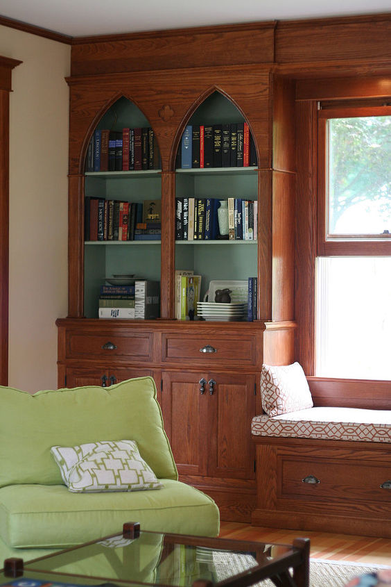 Close up of custom cabinetry & bookshelves in family room addition ~ Lee Valley & veritas Banded Shell Pull & Cast Drop Pull.
