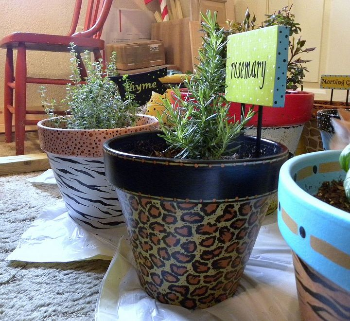 Jungle Theme Painted Clay Pots by GranArt