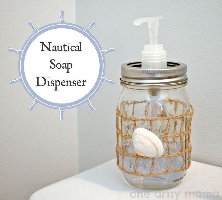 nautical soap dispenser, crafts, mason jars, repurposing upcycling, seasonal holiday decor